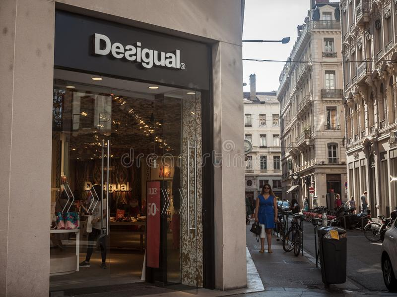 Desigual logo in front of their main boutique for Lyon. Desigual is a Spanish fashion designer and retailer. LYON, FRANCE - JULY 13, 2019: ..Picture of a sign stock photography