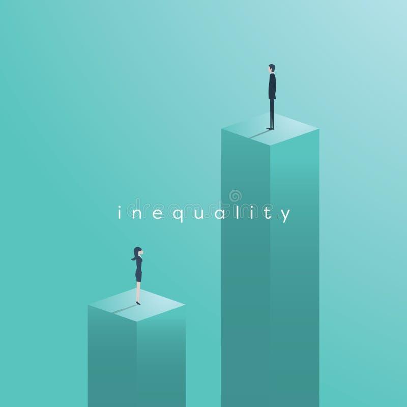 A desigualdade do gênero emite a ilustração do vetor do conceito Homem de negócios e mulher de negócios a níveis diferentes em in ilustração royalty free