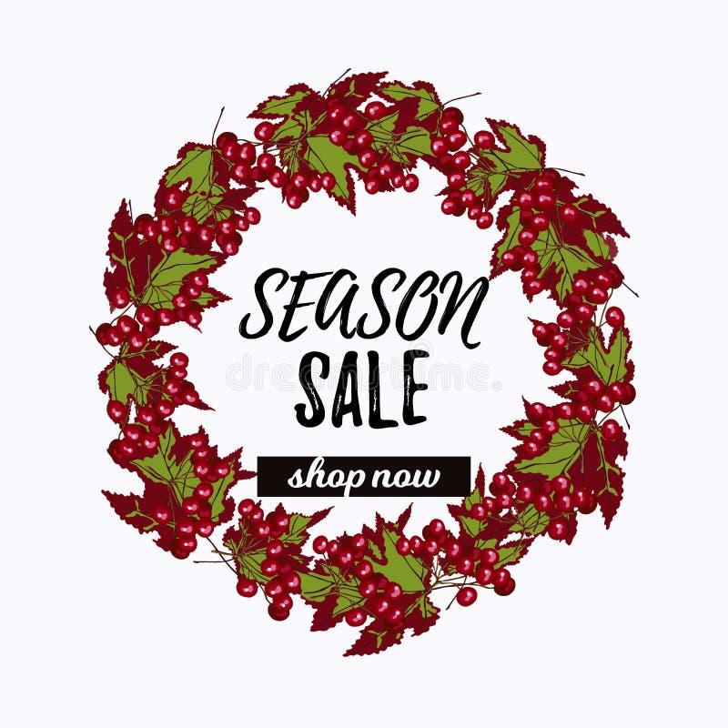 Desiign de vente de saison avec la guirlande de viburnum illustration stock