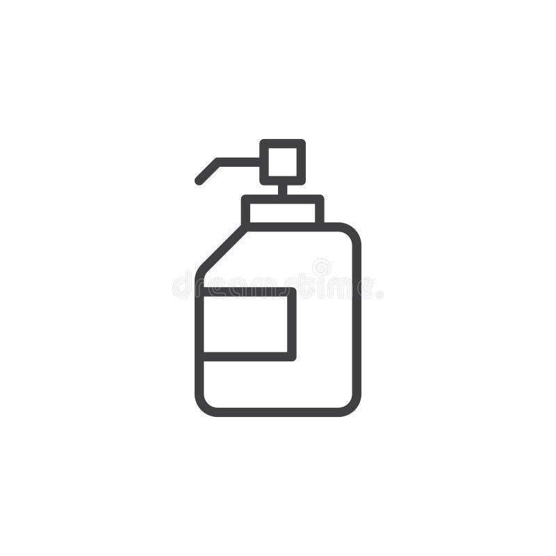 Desinfectante antibacteriano de la mano, línea icono, muestra del vector del esquema, pictograma linear del gel de la desinfecció ilustración del vector
