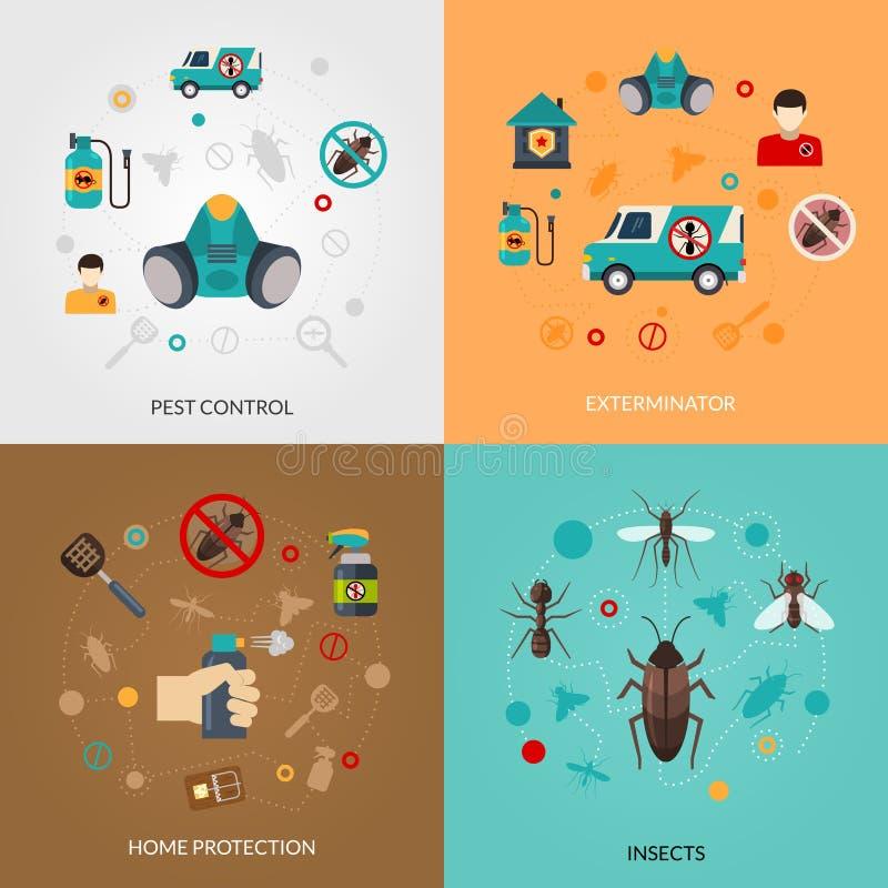 Desinfektör Pest Contro 4 plana symboler royaltyfri illustrationer