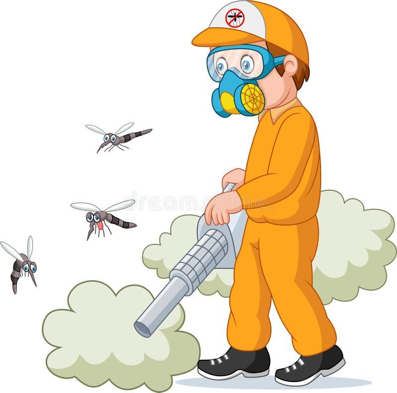 Desinfektörman som dödar en mygga stock illustrationer