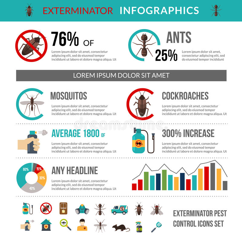 DesinfektörPest Control Infographics orientering royaltyfri illustrationer