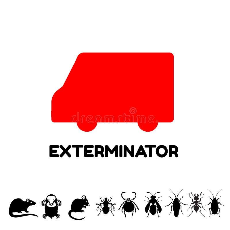 Desinfektörskåpbil stock illustrationer