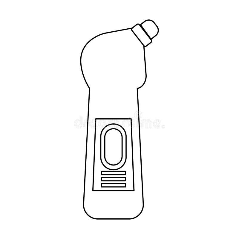 Desinfektionsmedeltvålflaskor med utmatare isoalted symbol i svartvitt royaltyfri illustrationer