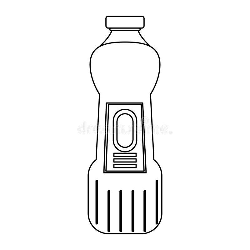 Desinfektionsmedeltvålflaskor med utmatare isoalted symbol i svartvitt stock illustrationer