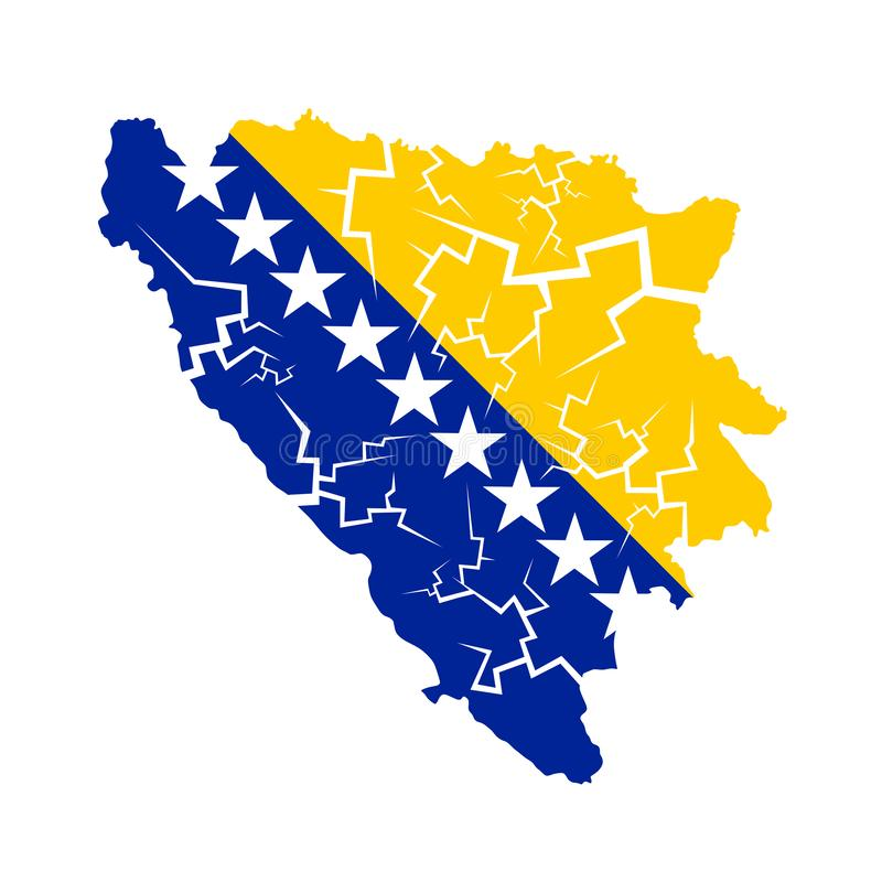 Desintegración de Bosnia y Herzegovina stock de ilustración