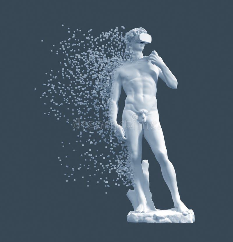 Desintegración de Digitaces de los vidrios de David With VR de la escultura en fondo azul ilustración del vector