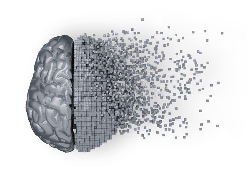 Desintegración del cerebro de Digitaces del metal stock de ilustración