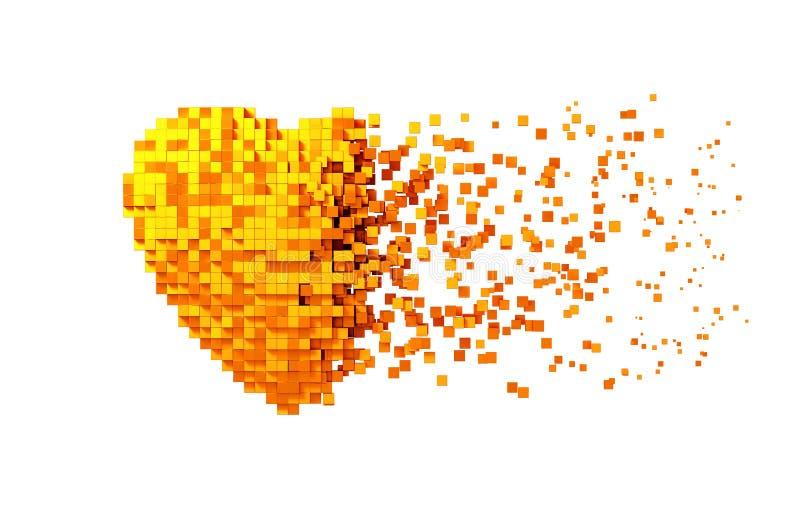 Desintegración del corazón de oro de Digitaces aislado en el fondo blanco stock de ilustración