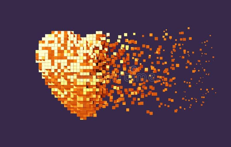 Desintegración del corazón de oro de Digitaces en fondo púrpura stock de ilustración