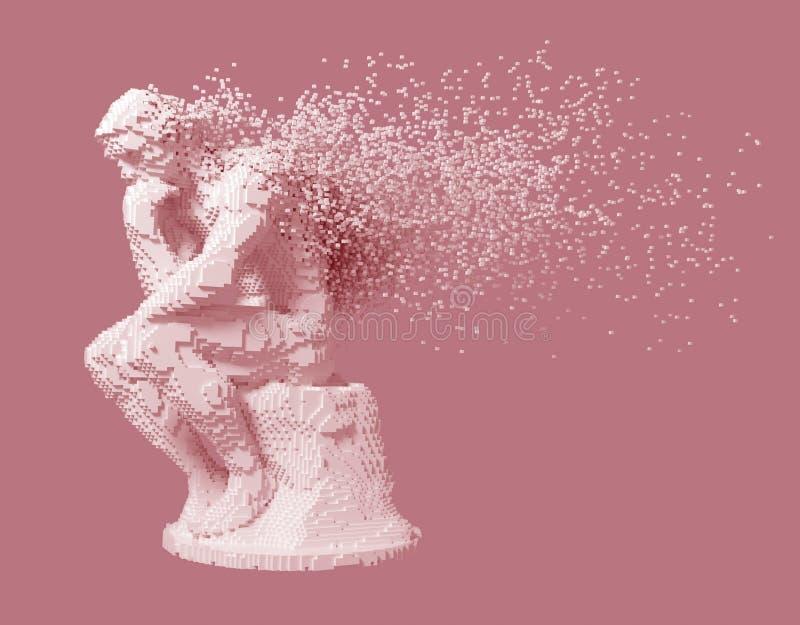 Desintegración del pensador de la escultura de Digitaces en fondo rosado stock de ilustración