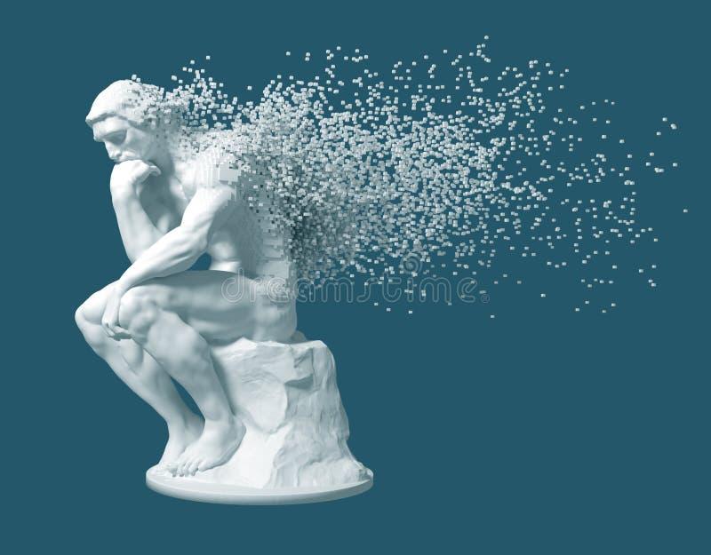 Desintegración del pensador de la escultura en fondo azul libre illustration