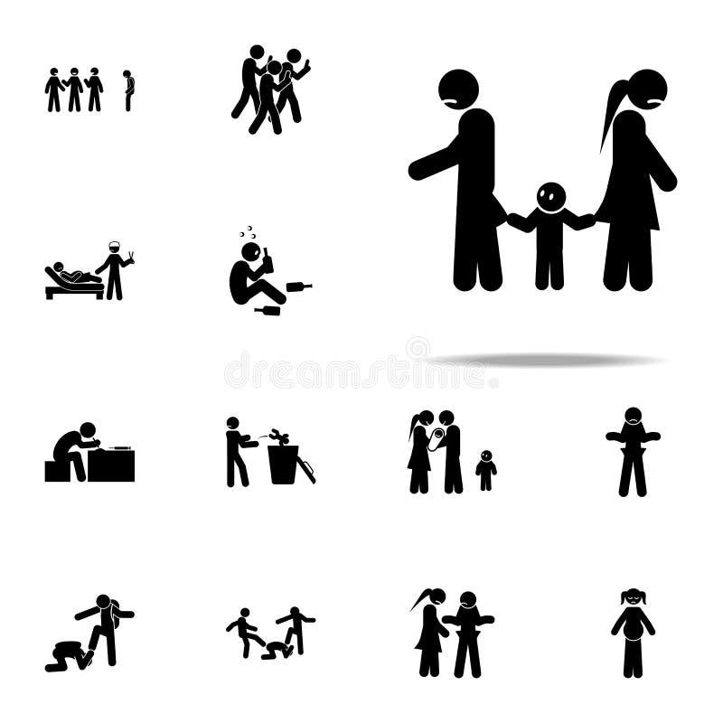 desintegración, icono del niño Sistema universal de los iconos sociales de los problemas de la juventud para la web y el móvil ilustración del vector