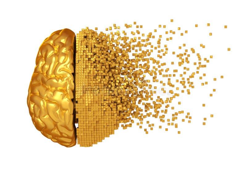 Desintegratie van Gouden Digitaal Brain On White Background vector illustratie