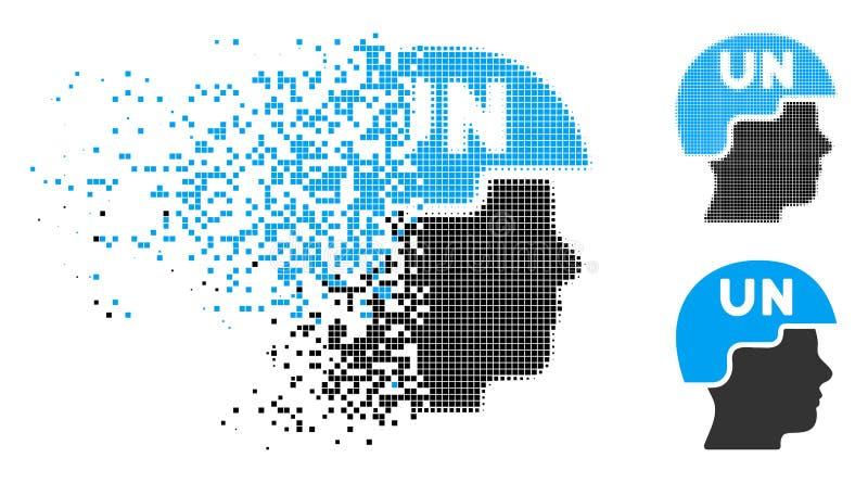 Desintegrera den rastrerade Förenta Nationernasoldaten Helmet Icon för PIXEL stock illustrationer