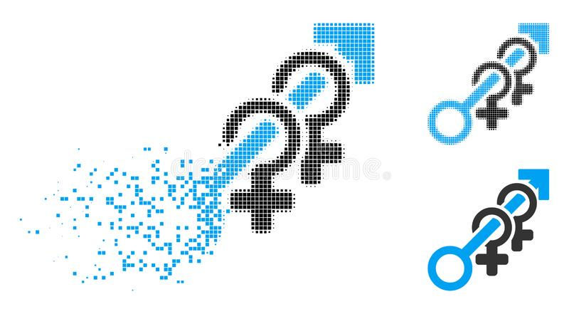 Desintegrera den rastrerade haremsymbolen för PIXEL stock illustrationer