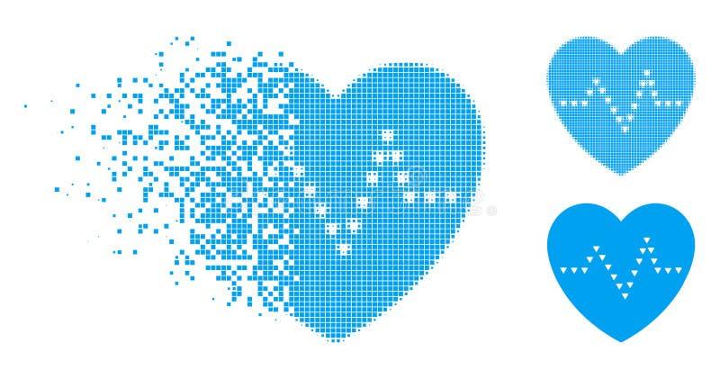 Desintegrera för hjärtapuls för PIXEL den halvton prack symbolen stock illustrationer