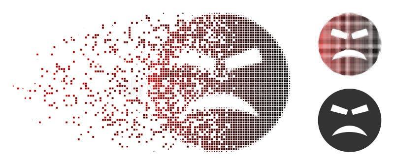 Desintegrera PIXELet rastrerade rasande Smiley Icon stock illustrationer