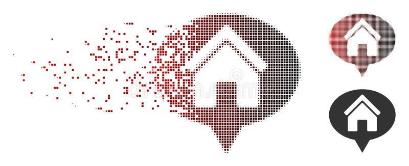 Desintegrera symbolen för ballong för information om hus för PIXEL den rastrerade vektor illustrationer