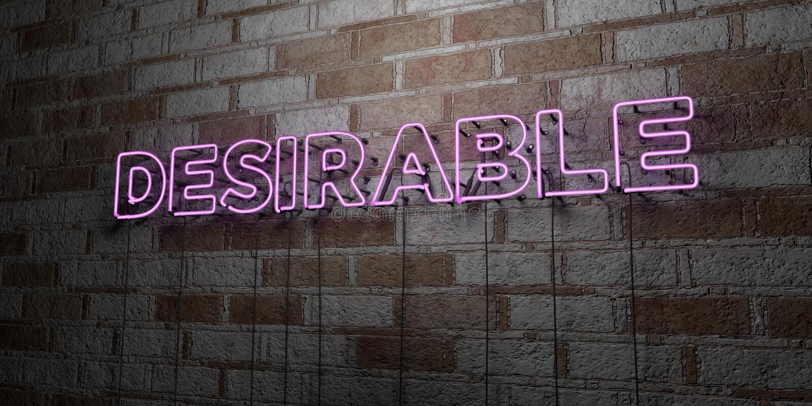 DESIRABLE - Glowing Neon Sign on stonework wall - 3D rendered royalty free stock illustration. Can be used for online banner ads and direct mailers royalty free illustration