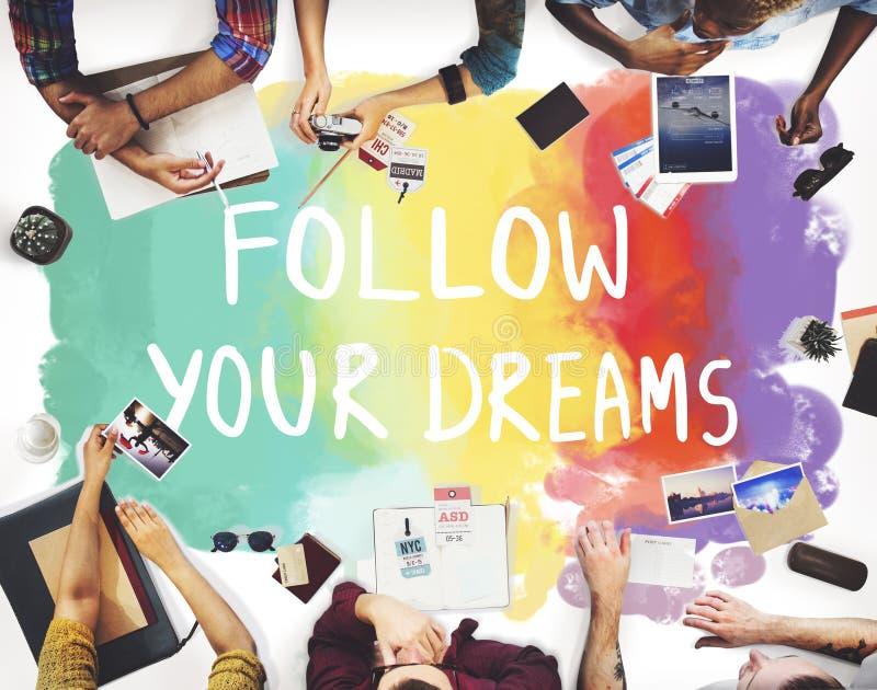 Desire Inspire Goals Follow Your sueña concepto imagen de archivo libre de regalías