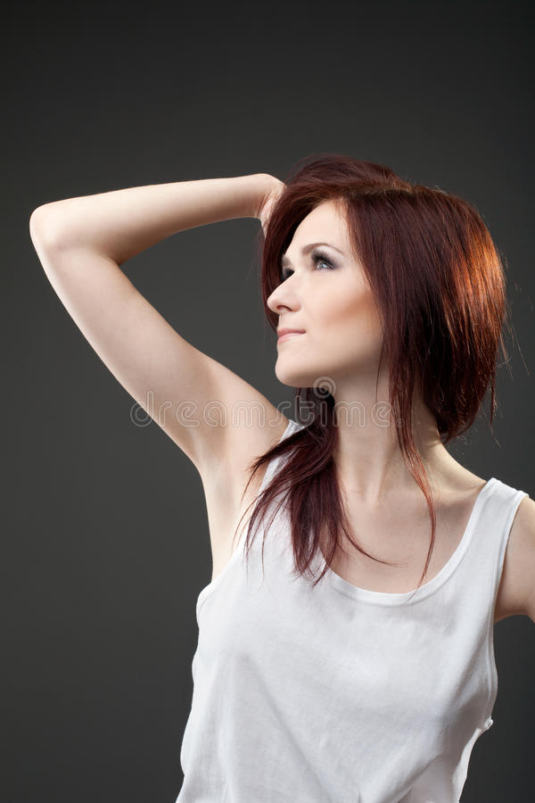 Download Desired Young Woman In Tank Top Dream Stock Image - Image: 24984265