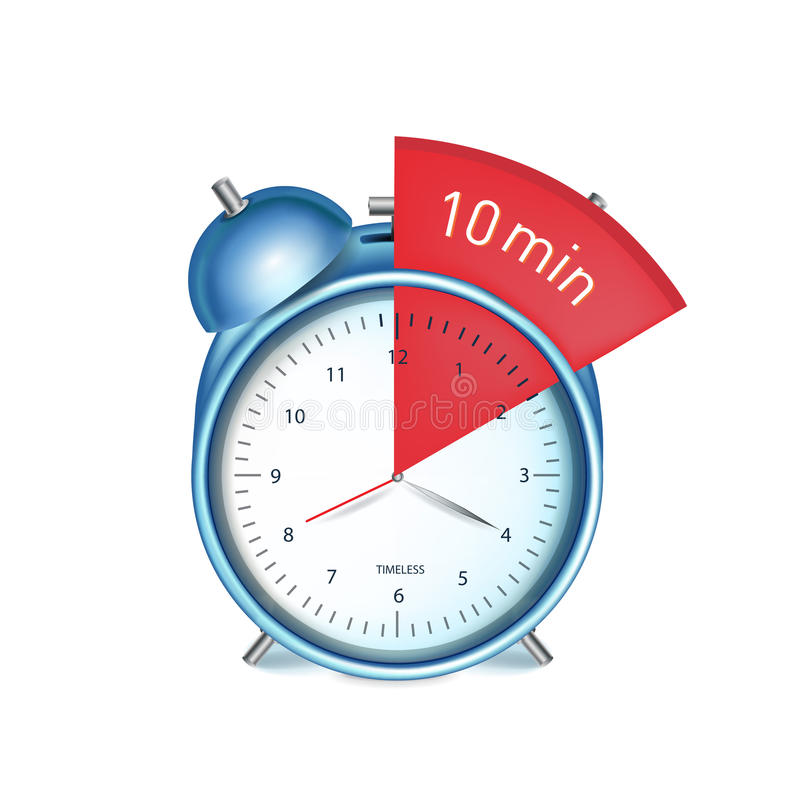 Desk alarm clock with ten minutes sign vector illustration