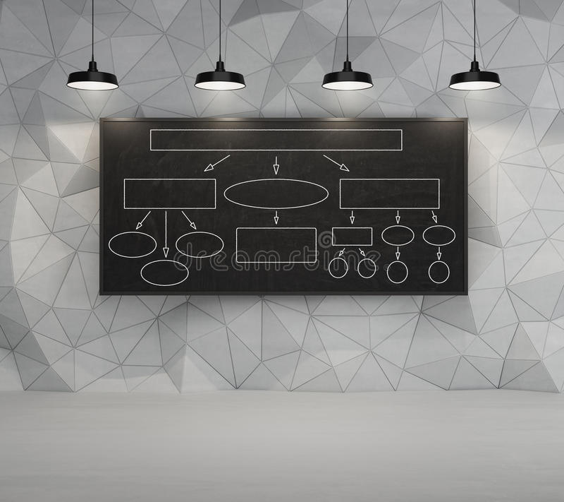 Desk with algorithm. Desk on a concrete wall with drawing algorithm vector illustration