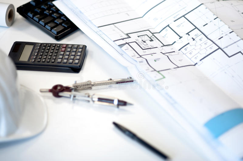 Download Desk of an architect stock photo. Image of idea, blueprint - 13339122