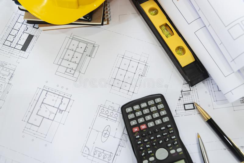 Desk of architects Solar Energy Powered Home Green for reduce global warming. Concept royalty free stock image
