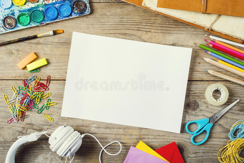 Desk of an artist royalty free stock photography