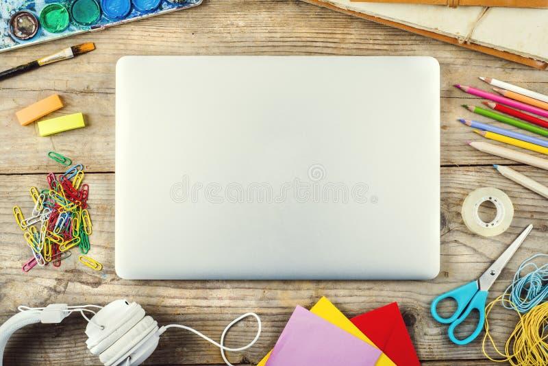 Desk of an artist stock photos