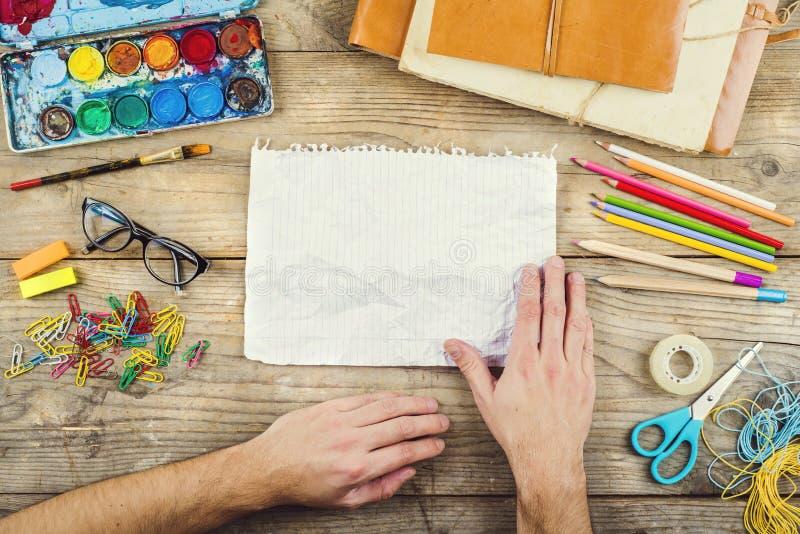 Desk of an artist stock photo