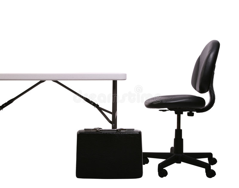 Desk, Brief Case, Chair on White royalty free stock images