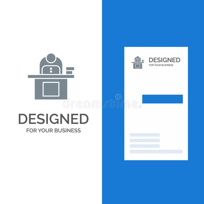 Desk, Business, Computer, Laptop, Person, Personal, User Grey Logo Design and Business Card Template royalty free illustration