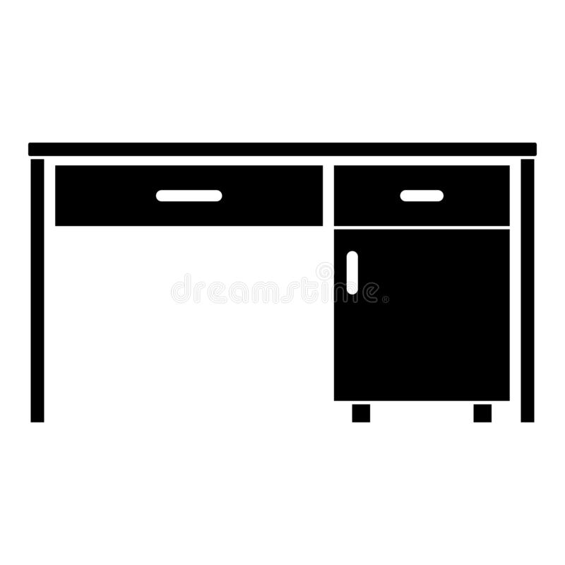 Desk Business office desk Written table Workplace in office concept icon black color vector illustration flat style image. Desk Business office desk Written vector illustration