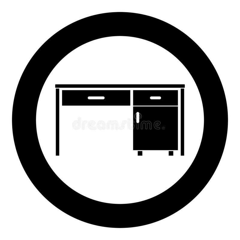 Desk Business office desk Written table Workplace in office concept icon in circle round black color vector illustration flat. Style simple image vector illustration