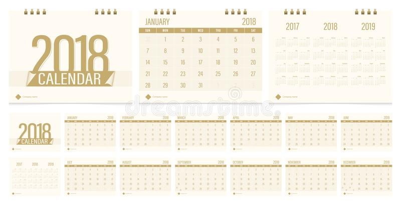 Desk calendar 2018 royalty free illustration