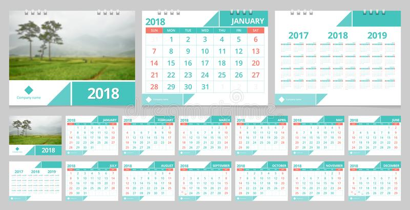 Desk calendar 2018 vector illustration