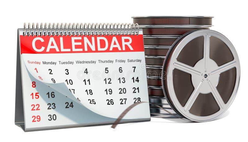 Desk calendar with film reel. Movie releases calendar concept, 3D rendering. Desk calendar with reel film reel. Movie releases calendar concept, 3D rendering vector illustration