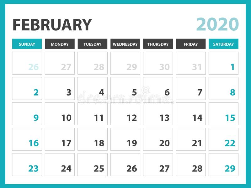 Desk calendar layout  Size 8 x 6 inch, February 2020 Calendar template, planner design, week starts on sunday, stationery design royalty free illustration