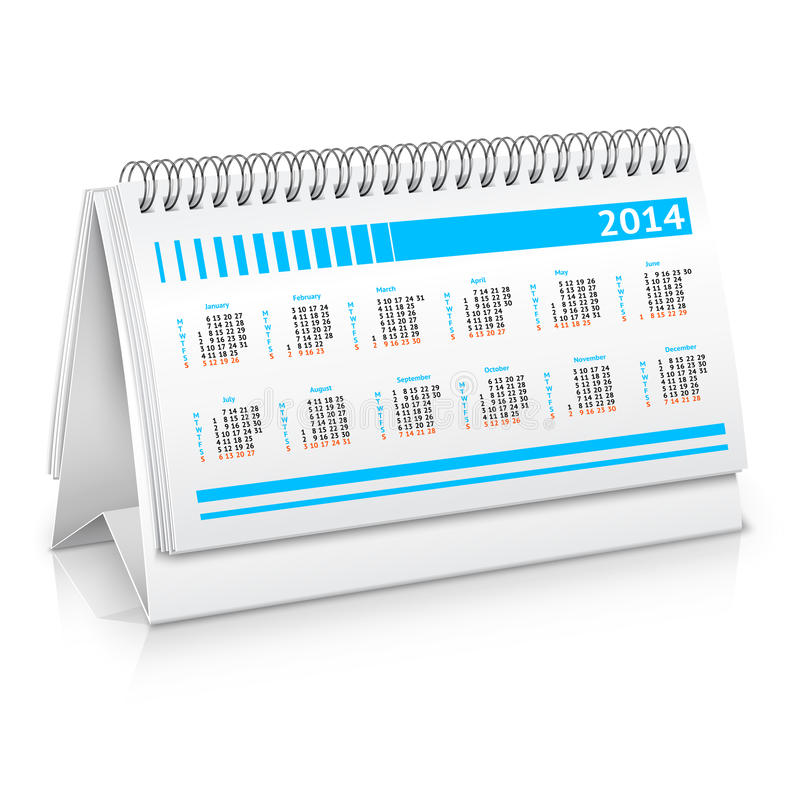 Table Calendar Mockup : Desk calendar mockup stock vector image