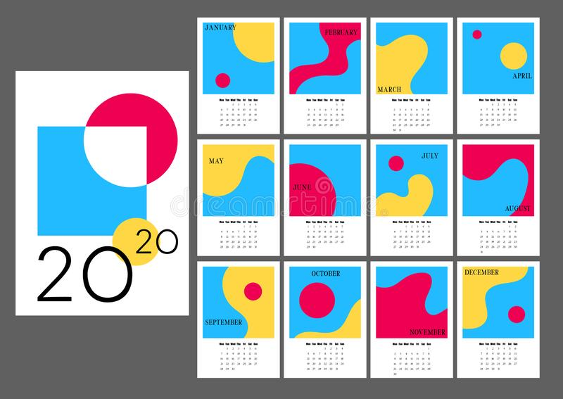 2020 Desk Calendar with monthly pages and abstract images. Vertical calendar with retro style picture frames royalty free stock photos
