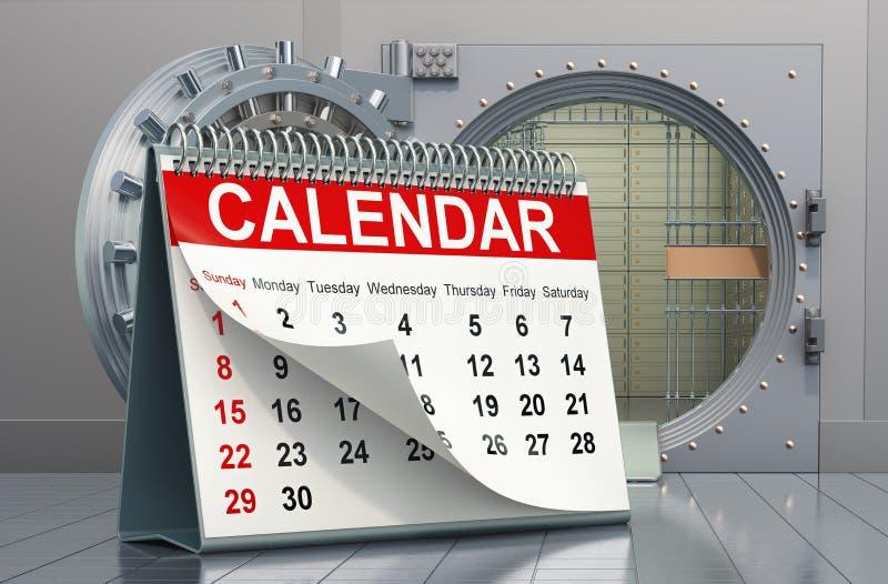 Desk calendar with opened bank vault. Financial calendar concept, 3D rendering. Desk calendar with opened bank vault. Financial calendar concept, 3D royalty free illustration