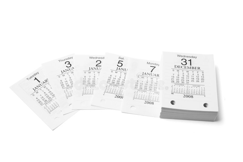 Desk Calendar Pages. On Isolated White Background stock image