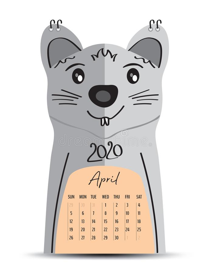 Desk Calendar 2020 on rat cartoon character Frame, April 2020 lettering, poster, flyer, mouse animal chinese zodiac sign royalty free illustration
