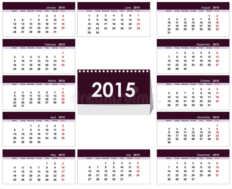 Desk Calendar 2015 Template Stock Vector Illustration Of