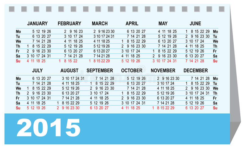 Desk Calendar 2015 Template Stock Vector Illustration Of Desk