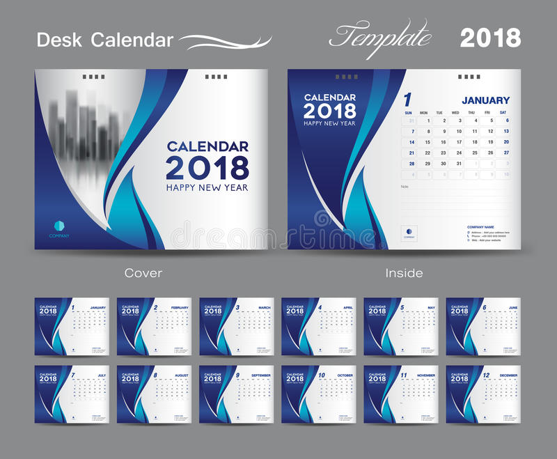 Calendar Cover 2018 : Desk calendar template layout design blue cover